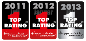 Three badges to show to top rating award for the years 2011, 2012 and 2013 respectively.